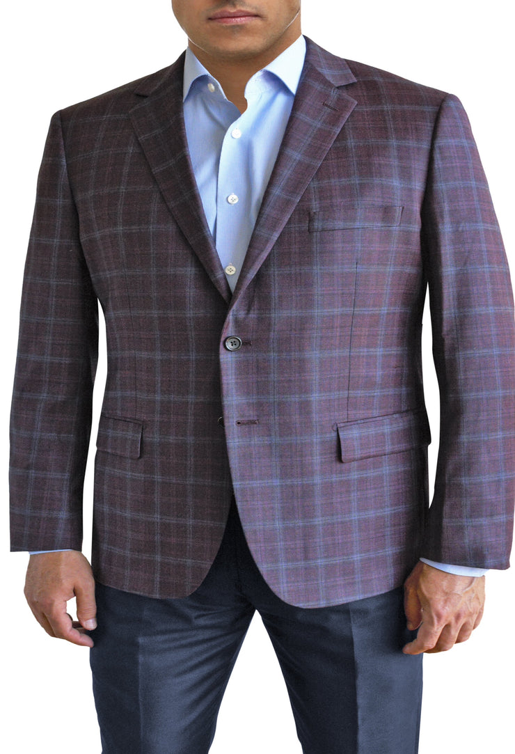 Maroon Textured Plaid two button jacket by Daniel Hechter