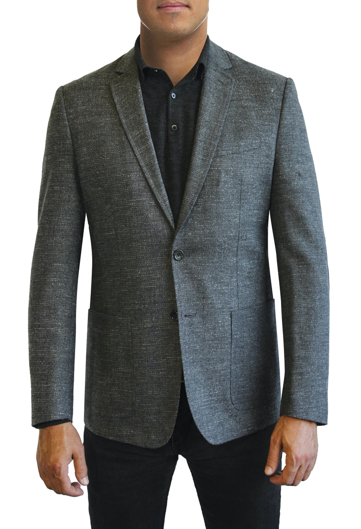 Grey Solid Texture two button jacket by Daniel Hechter