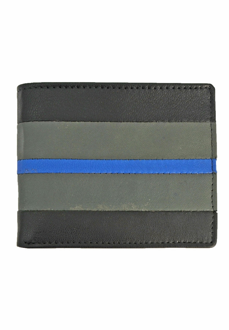 Nicole Miller pass case in black and grey wallet with blue stripe