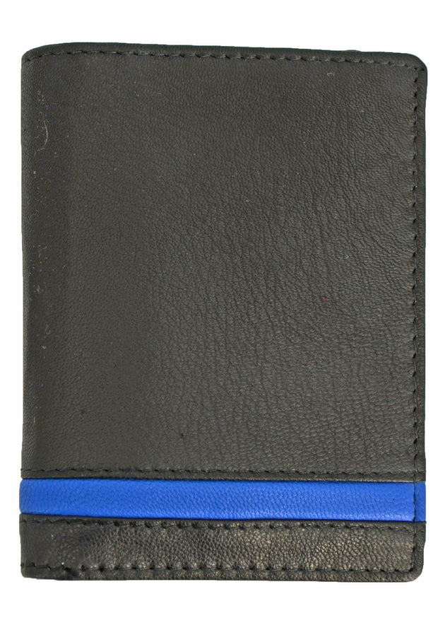 Nicole Miller black slim bi-fold  wallet with blue stripe