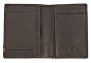 Nicole Miller brown slim bi-fold wallet with tan stripe
