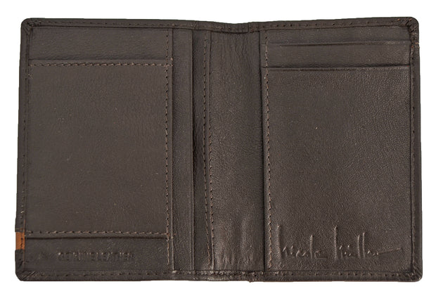 Nicole Miller Brown Slim-Fold Pass Case Wallet with Tan Stripe