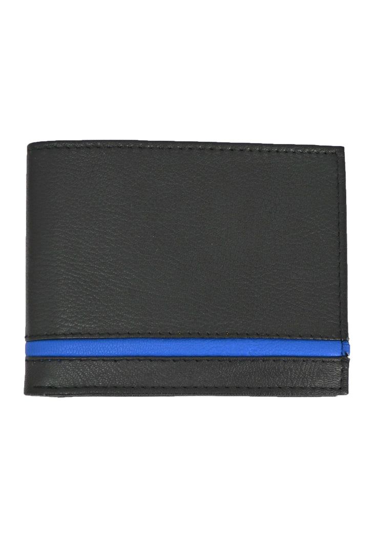 Nicole Miller black slim fold pass case wallet with blue stripe