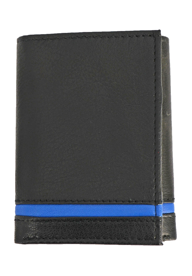 Nicole Miller black tri-fold wallet with blue stripe