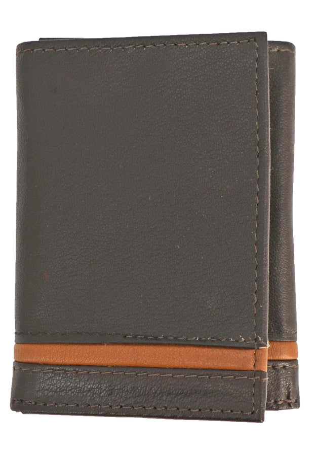 Nicole Miller Brown Tri-Fold Wallet with Tan Stripe