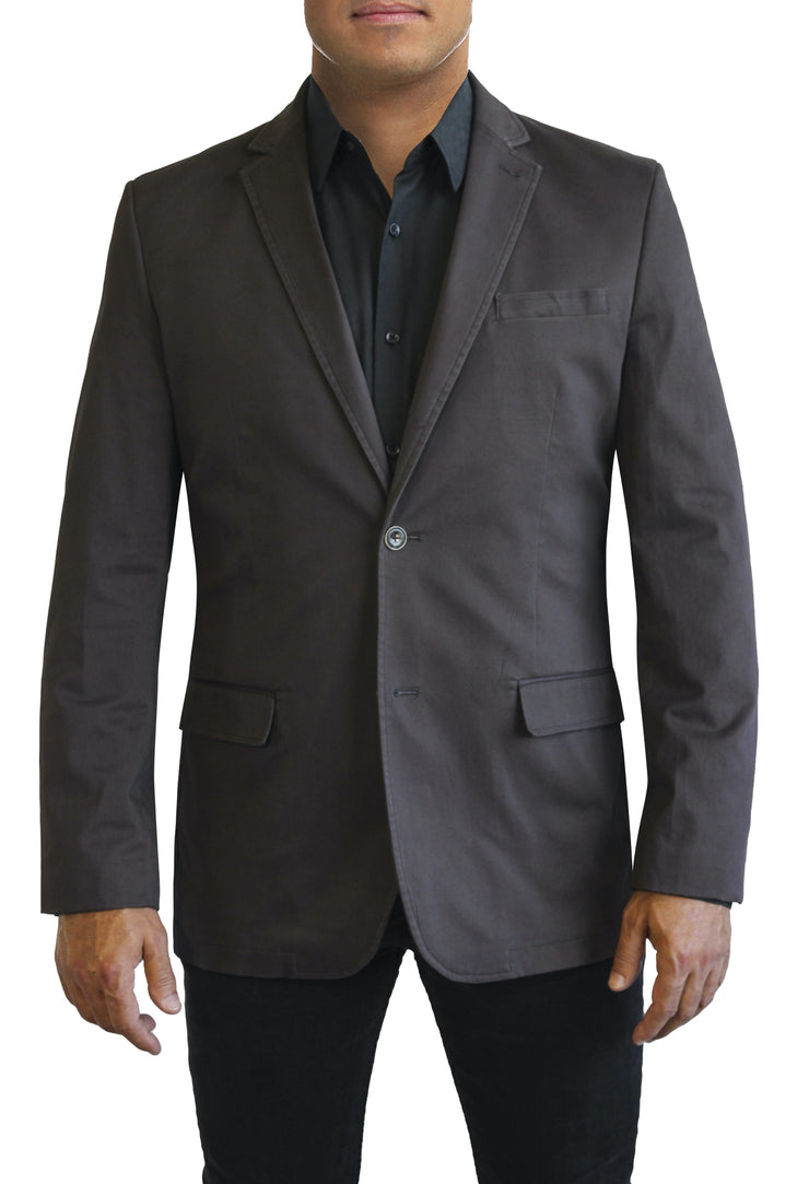 Black Cotton two button jacket by Daniel Hechter