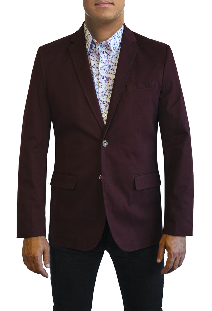 Maroon Cotton two button jacket by Daniel Hechter