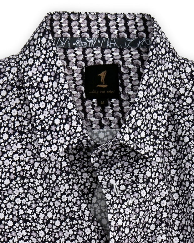 1 Like No Other Black Floral Print Shirt