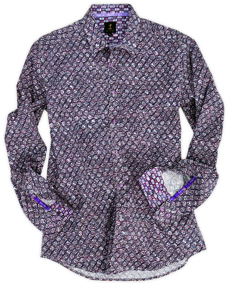 1 Like No Other Black and Purple Geometric Print Shirt