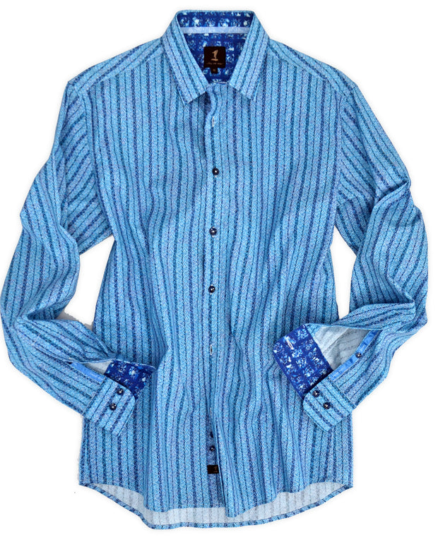 1 Like No Other Blue Geometric Print Shirt
