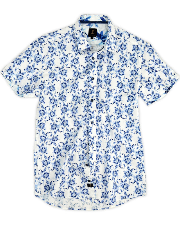 1 Like No Other Uva blue floral short sleeve shirt
