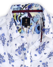 1 Like No Other Ploma blue floral short sleeve shirt