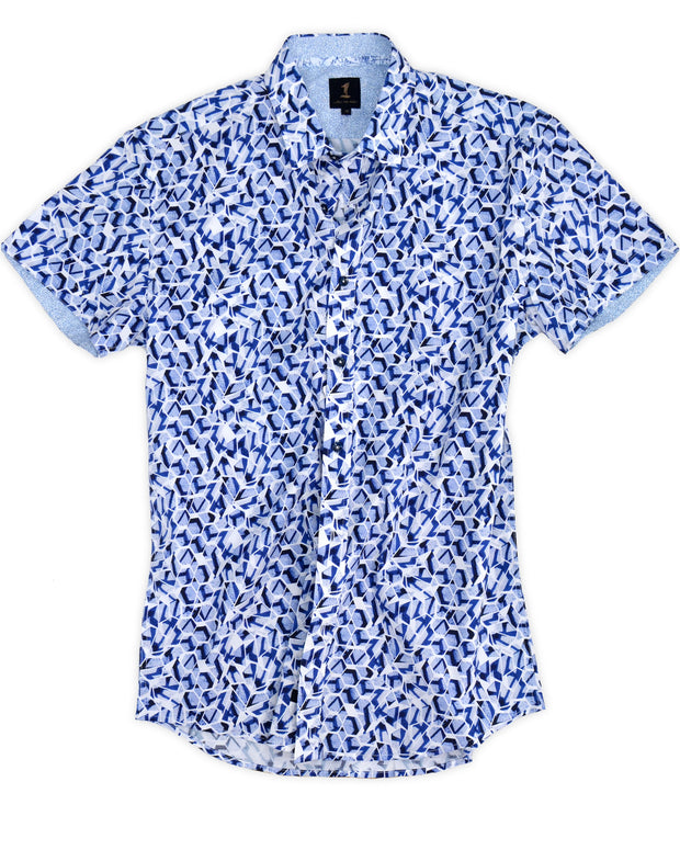 1 Like No Other Favo blue geo printed short sleeve shirt