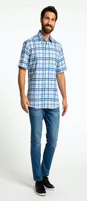 Save the Ocean Recycled blue plaid short sleeve shirt
