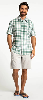 Save the Ocean Recycled green plaid short sleeve shirt