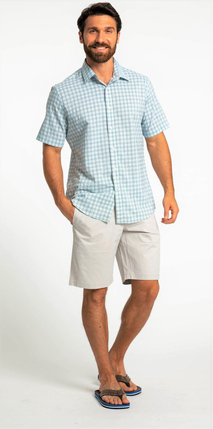 Save the Ocean blue plaid short sleeve shirt