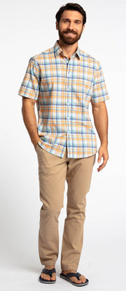 Save the Ocean Recycled blue/orange plaid short sleeve shirt
