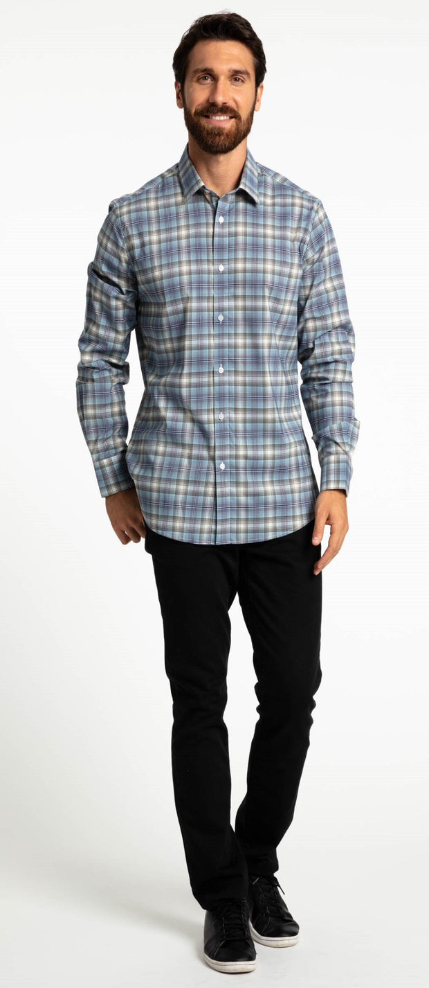 Save the Ocean Recycled grey plaid long sleeve shirt
