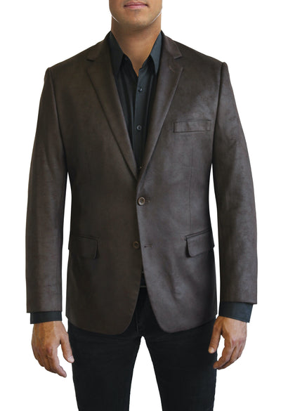 Dark Brown Microsuede two button jacket by Daniel Hechter