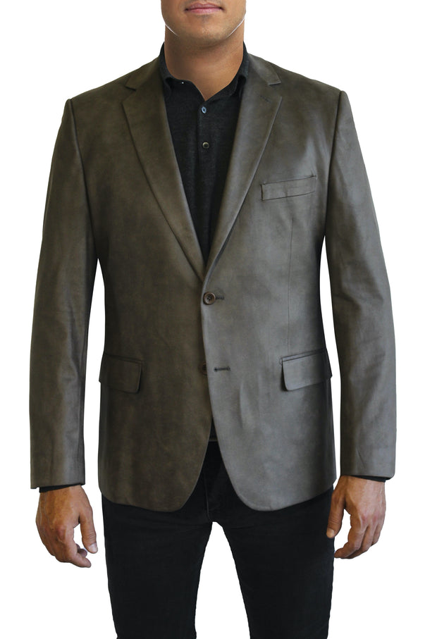 Brown Microsuede two button jacket by Daniel Hechter