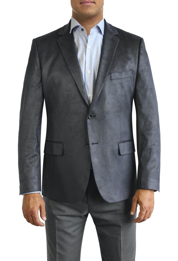 Blue Microsuede two button jacket by Daniel Hechter