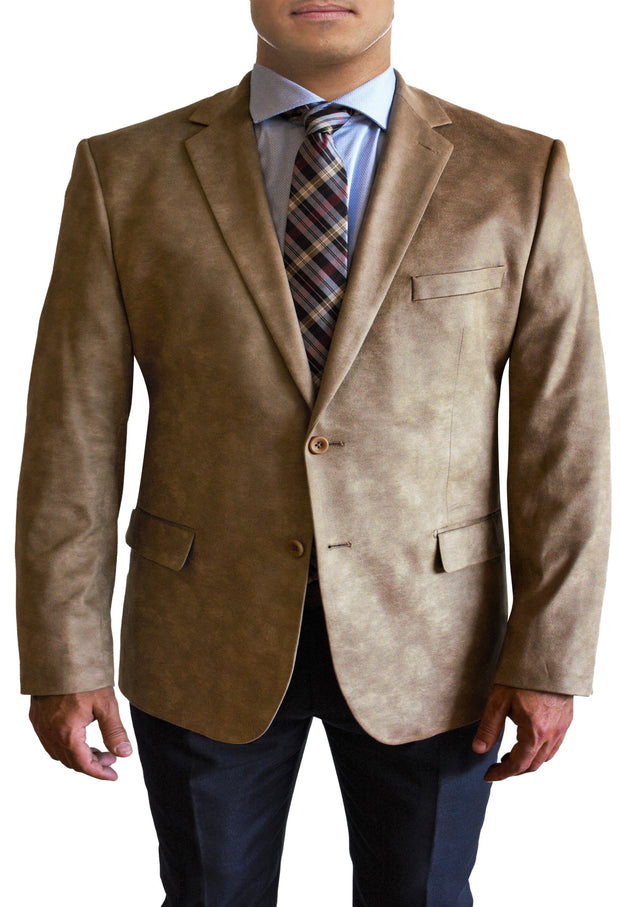 Tan Microsuede two button jacket by Daniel Hechter