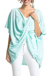 Save the Ocean Recycled Light Green Knit Twist Poncho