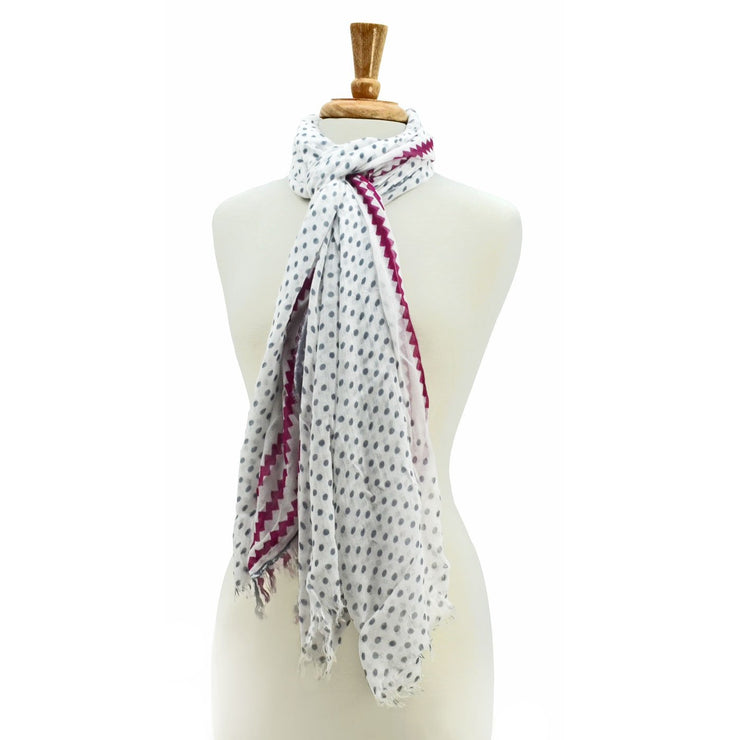 Lily Polka Dots with Trim Scarf