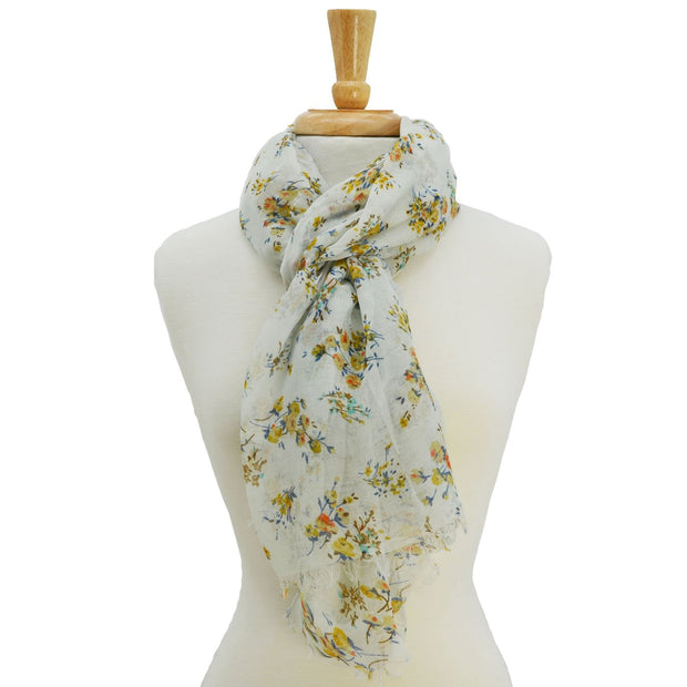 Isle Floral Print Scarf with Fringe