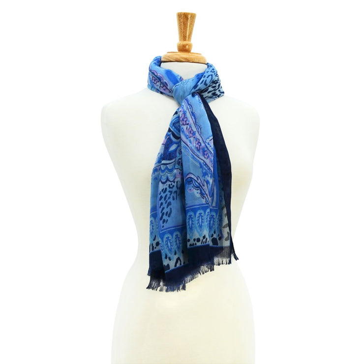 Kira Paisley Scarf with Trim