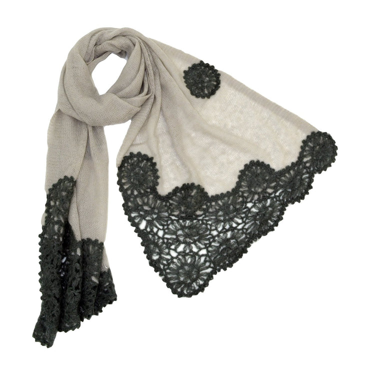 Roffe Accessories Women's Isabella Crocheted with Trim Scarf