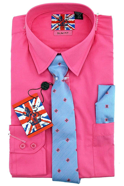English Laundry Dress Shirt, Tie, Pocket Square Combo Slim Fit