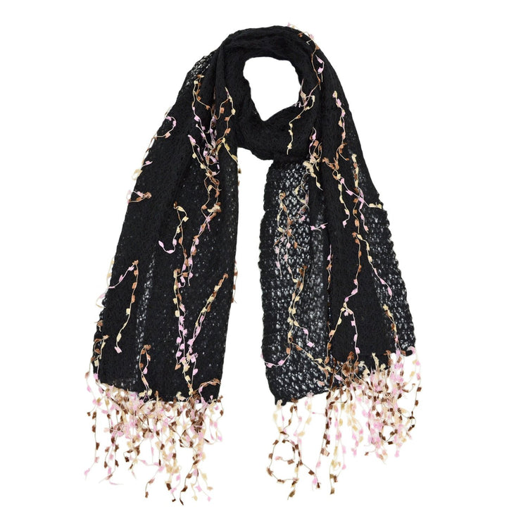 Ariel Mohair with Flower Trim Scarf