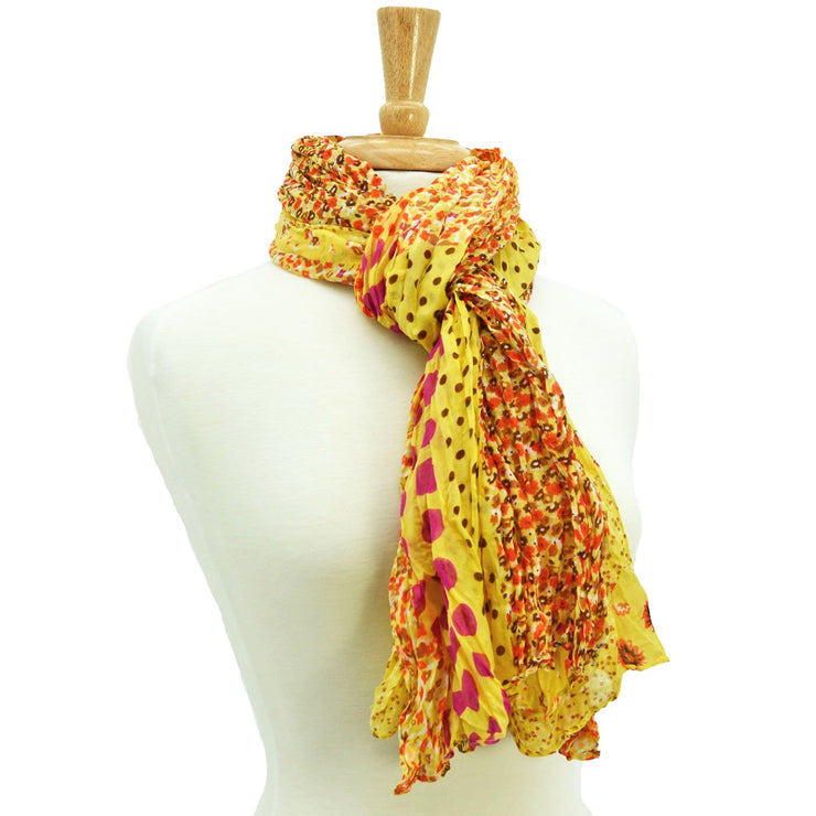 Kate Dotted Floral Crinkle Scarf