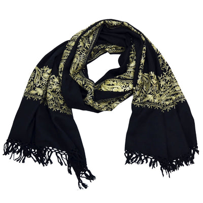 Penny Wool Embroidered Scarf