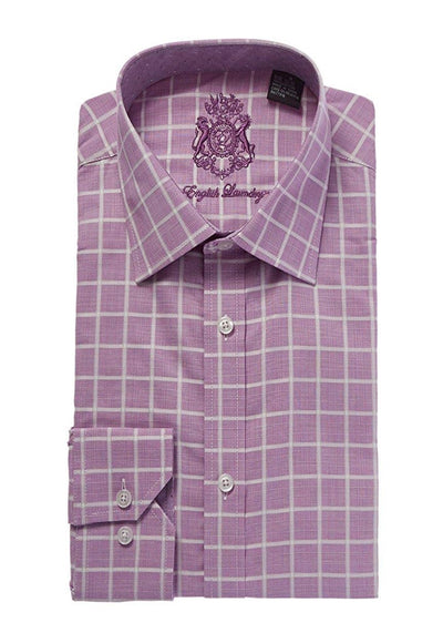 English Laundry Light Purple With White Checks Dress Shirt