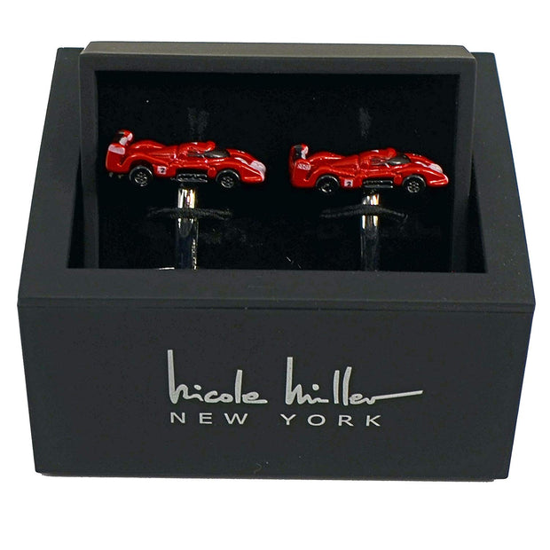 Nicole Miller Studio Red Race Car Cuff Links