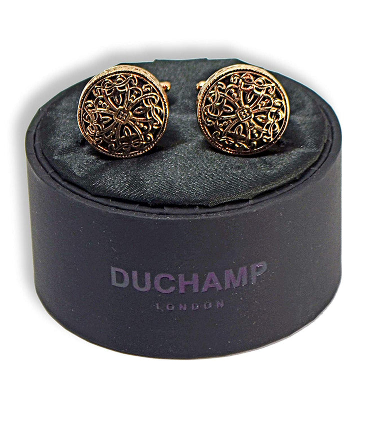 Duchamp London Rose Gold and Black Cuff Links