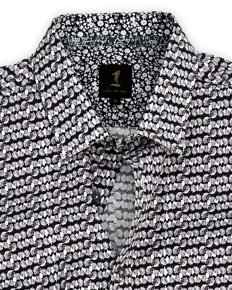 1 Like No Other Mawar Print Grey Shirt