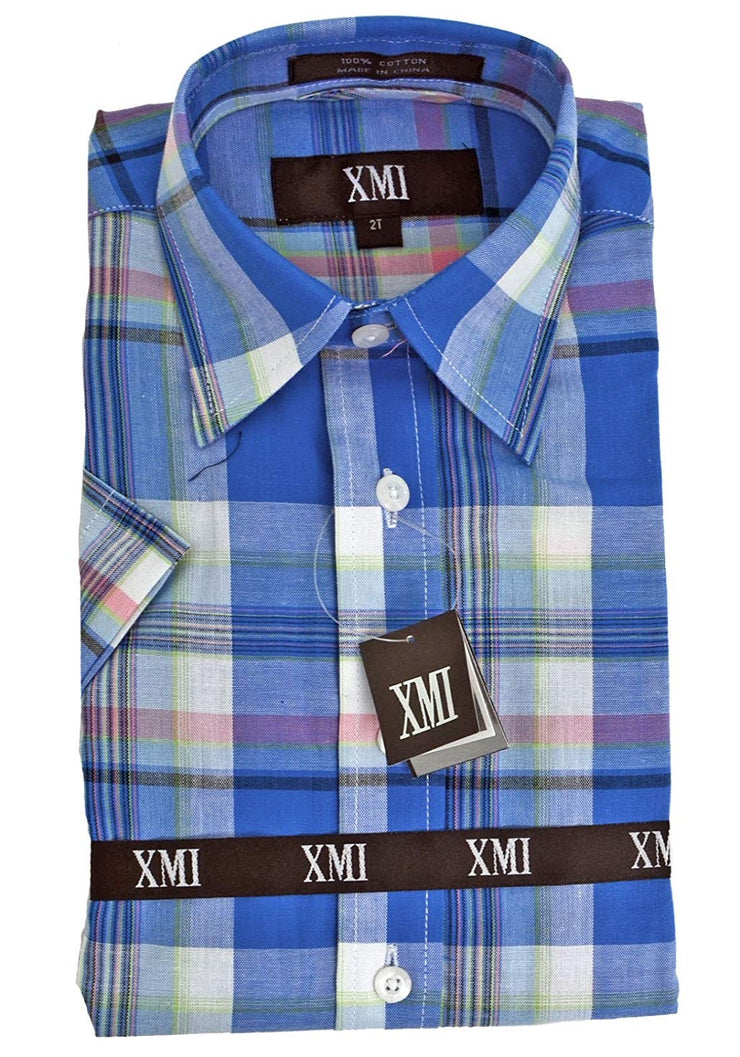 XMI Boys Half Sleeve Plaid Button Down Shirt