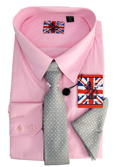 English Laundry Dress Shirt, Tie, Pocket Square Combo