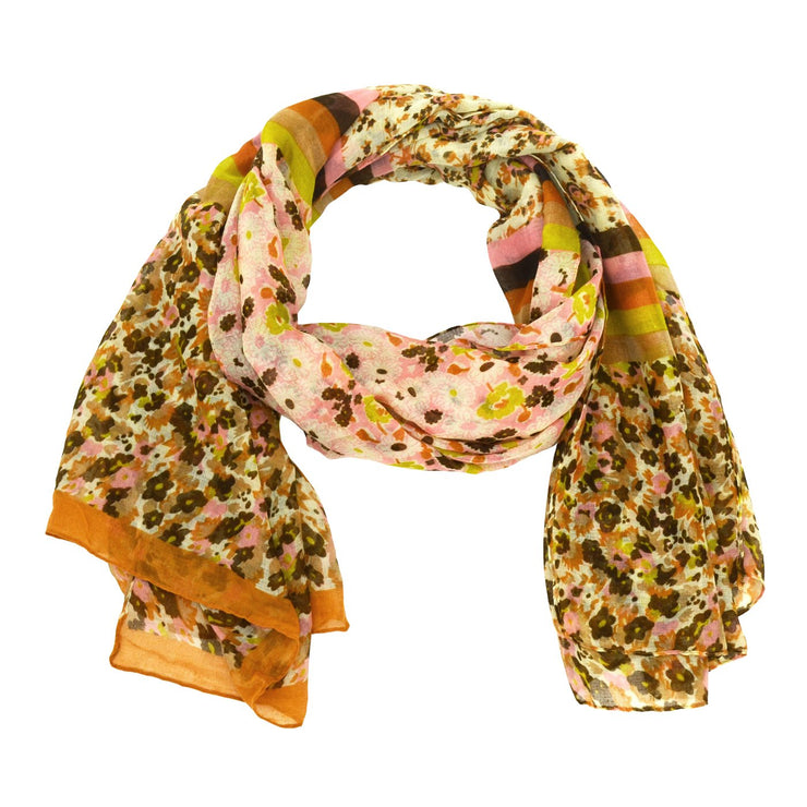 Aubrey Striped Floral Scarf