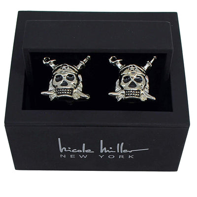 Nicole Miller Studio Pirate Skull Cuff Links