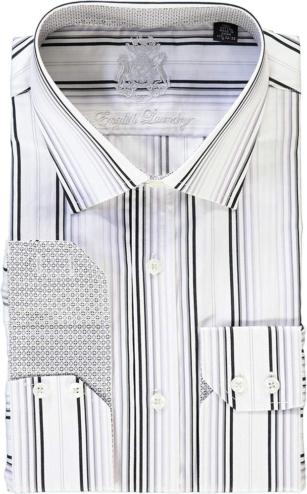 English Laundry White Black Gray Stripes Dress Shirt