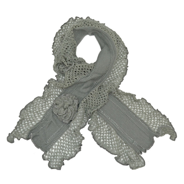 Roffe Accessories Women's Chloe Crocheted with Flower Scarf
