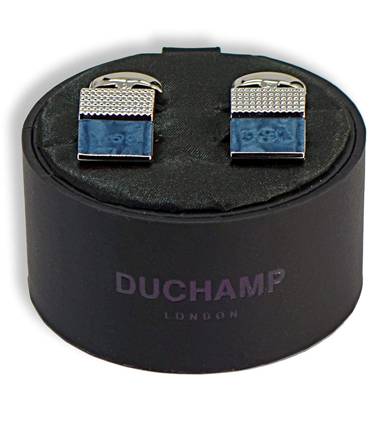 Duchamp London Silver and Blue Cuff Links