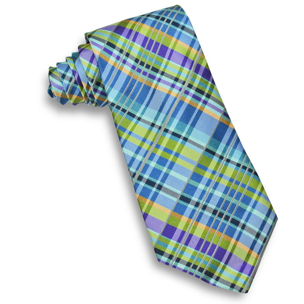 XMI Mens Plaid Platinum Tie