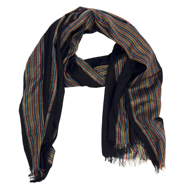 Brandi Solid with Stripe Woven Scarf