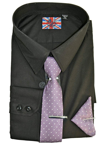 English Laundry Dress Shirt, Tie, Pocket Square and Tie Bar Combo Slim Fit