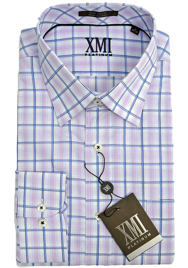XMI Mens Plaid Dress Shirt